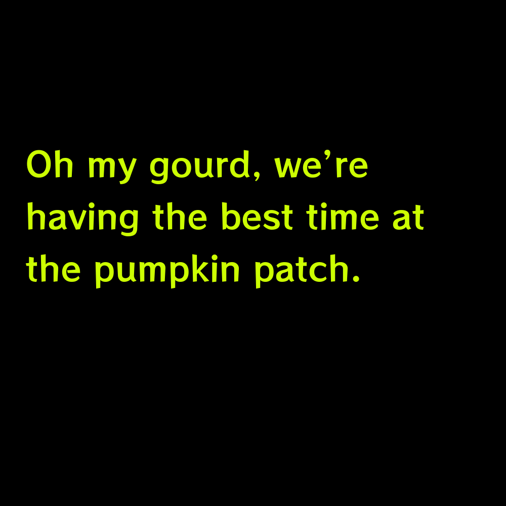 Oh my gourd, we're having the best time at the pumpkin patch. - Pumpkin Patch Captions for Instagram