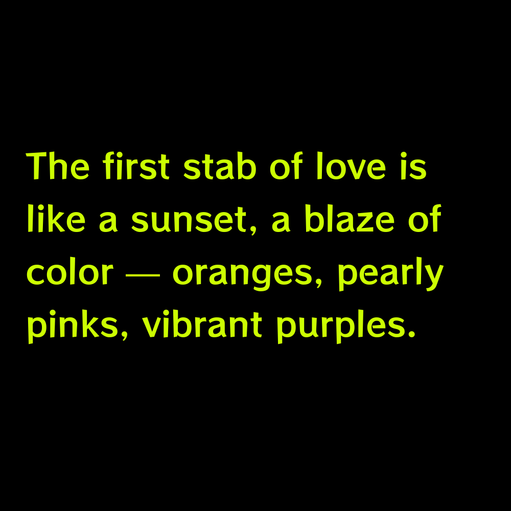The first stab of love is like a sunset, a blaze of color — oranges, pearly pinks, vibrant purples. - Pink Sky Captions for Instagram