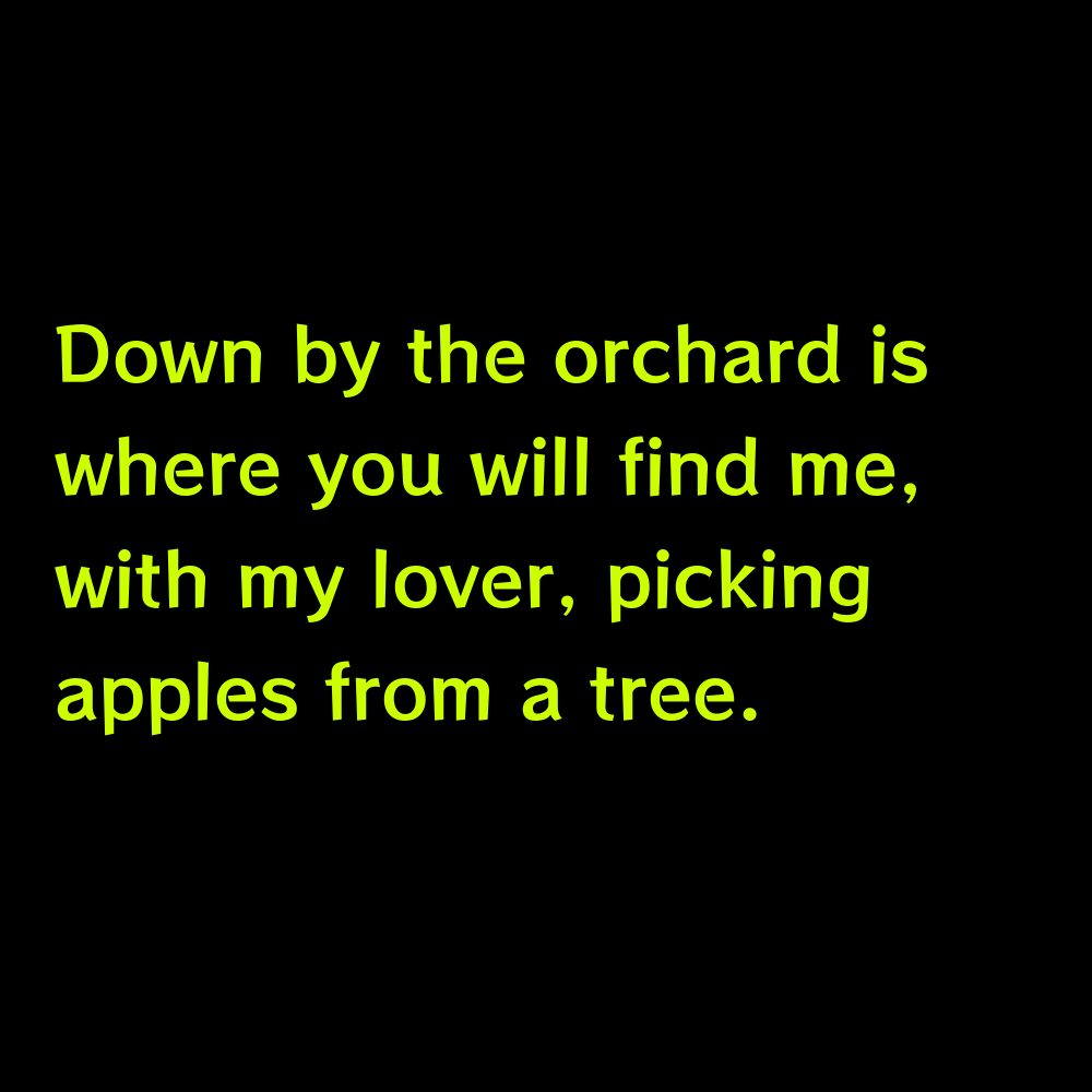 Down by the orchard is where you will find me, with my lover, picking apples from a tree. - Apple Orchard Captions for Instagram
