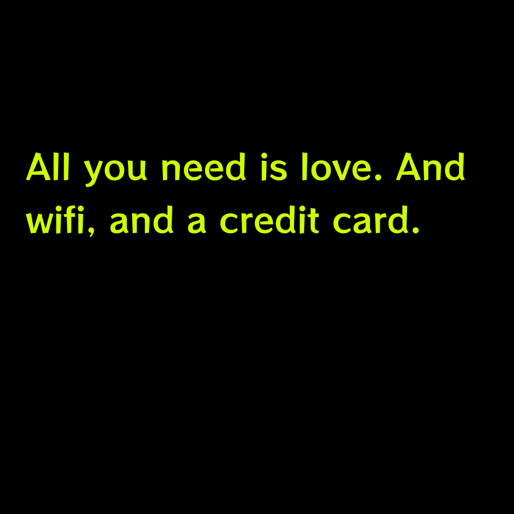 All you need is love. And wifi, and a credit card. - Online Shopping Captions for Instagram